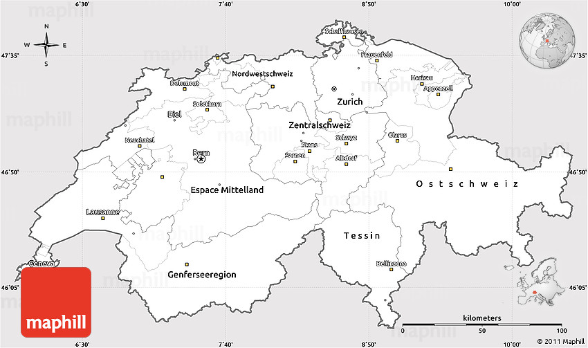 Silver Style Simple Map of Switzerland, cropped outside