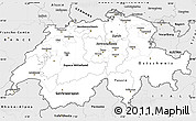 Silver Style Simple Map of Switzerland