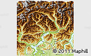 Physical 3D Map of Tessin