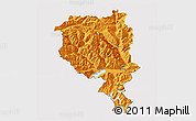 Political 3D Map of Tessin, cropped outside