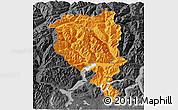 Political 3D Map of Tessin, darken, desaturated