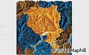 Political 3D Map of Tessin, darken