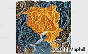 Political 3D Map of Tessin, darken, semi-desaturated