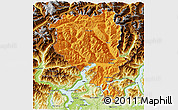 Political 3D Map of Tessin, physical outside