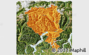 Political 3D Map of Tessin, satellite outside