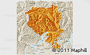 Political 3D Map of Tessin, shaded relief outside
