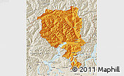 Political Map of Tessin, shaded relief outside