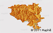 Political Panoramic Map of Tessin, cropped outside