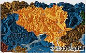 Political Panoramic Map of Tessin, darken