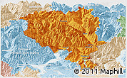 Political Panoramic Map of Tessin, lighten