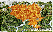 Political Panoramic Map of Tessin, satellite outside