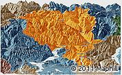 Political Panoramic Map of Tessin, semi-desaturated