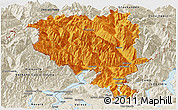 Political Panoramic Map of Tessin, shaded relief outside