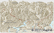 Shaded Relief Panoramic Map of Tessin