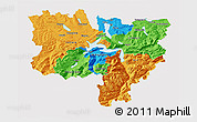 Political 3D Map of Zentralschweiz, cropped outside