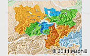 Political 3D Map of Zentralschweiz, lighten