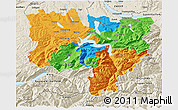 Political 3D Map of Zentralschweiz, shaded relief outside