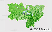 Political Shades 3D Map of Zentralschweiz, cropped outside