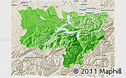 Political Shades 3D Map of Zentralschweiz, shaded relief outside