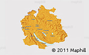 Political 3D Map of Zürich, cropped outside