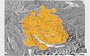 Political 3D Map of Zürich, desaturated