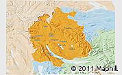 Political 3D Map of Zürich, lighten