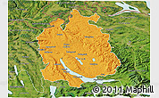 Political 3D Map of Zürich, satellite outside