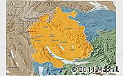 Political 3D Map of Zürich, semi-desaturated