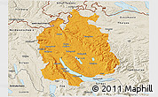Political 3D Map of Zürich, shaded relief outside