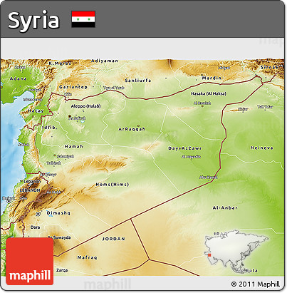 Free Physical 3D Map of Syria