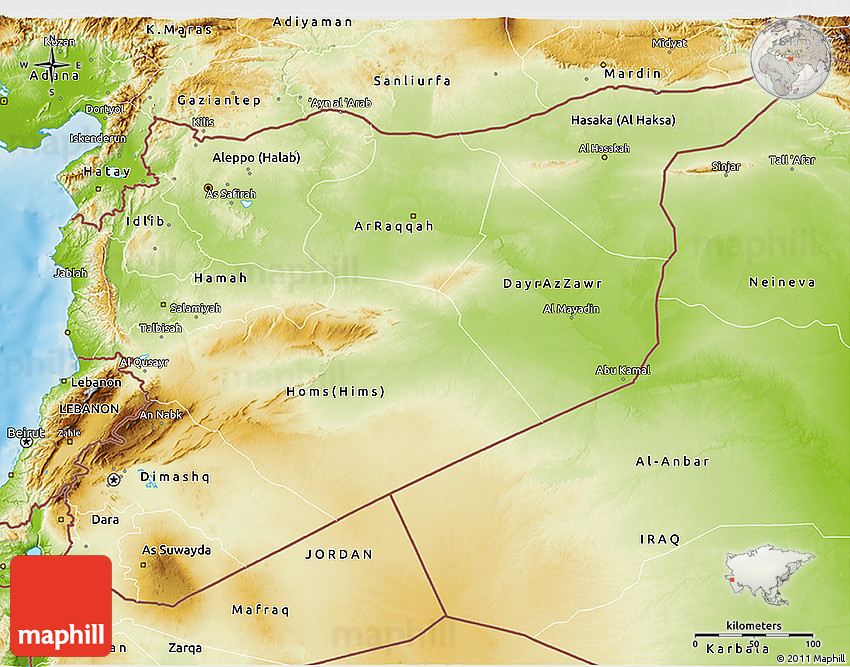Physical 3D Map of Syria