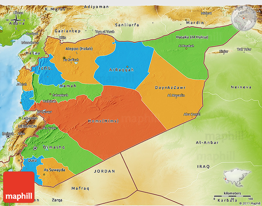 Political 3D Map of Syria physical outside