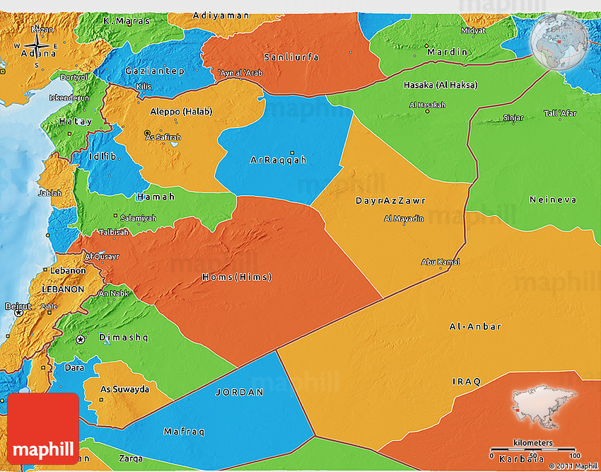 political 3d map of syria
