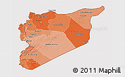 Political Shades 3D Map of Syria, cropped outside