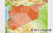 Political Shades 3D Map of Syria, physical outside
