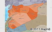 Political Shades 3D Map of Syria, semi-desaturated, land only