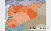 Political Shades 3D Map of Syria, semi-desaturated