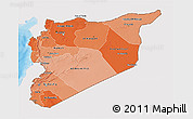 Political Shades 3D Map of Syria, single color outside