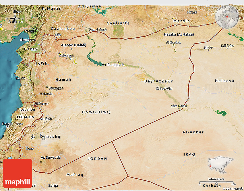 Syria Map And Satellite Image: Satellite 3D Map Of Syria