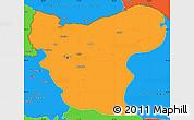 Political Simple Map of Aleppo (Halab)