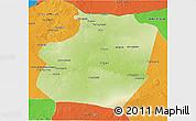 Physical 3D Map of Ar Raqqah, political outside