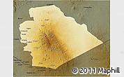 Physical 3D Map of As Suwayda, darken