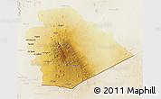 Physical 3D Map of As Suwayda, lighten