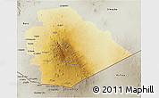 Physical 3D Map of As Suwayda, semi-desaturated