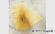 Physical Map of As Suwayda, semi-desaturated
