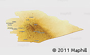 Physical Panoramic Map of As Suwayda, cropped outside