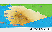 Physical Panoramic Map of As Suwayda, political outside