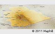 Physical Panoramic Map of As Suwayda, semi-desaturated