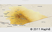 Physical Panoramic Map of As Suwayda, shaded relief outside