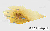 Physical Panoramic Map of As Suwayda, single color outside